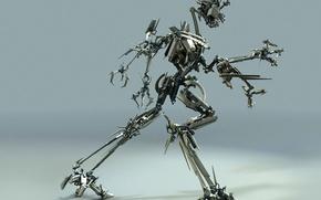 Обои металл, робот, движение