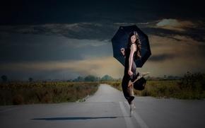 Картинка девочка, балерина, тучи, пуанты, дорога, танец, зонт