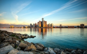 Обои небо, вода, город, камни, Detroit