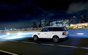 Обои город, скорость, джип, Land Rover, Range Rover