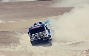 Картинка песок, car, машина, гонка, пустыня, пыль, мастер, дюны, грузовик, россия, rally, ралли, камаз, kamaz, дакар, …