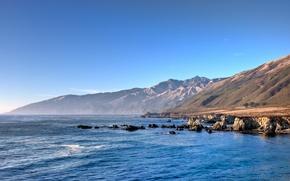 Обои вода, горы, прибрежье, океан, небо, синий, Калифорния