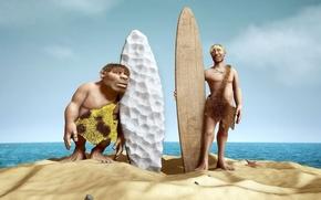 Картинка песок, серфинг, древние люди