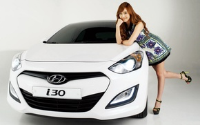 Картинка взгляд, девушка, фон, Девушки, азиатка, Hyundai, белый авто