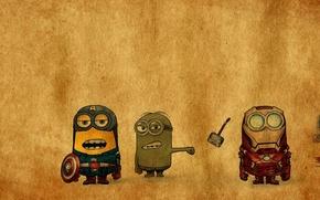 Картинка железный человек, халк, тор, капитан америка, миньоны, мстители, The Avengers, Despicable avengers
