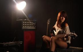 Картинка гитара, девушка, фон, музыка