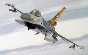 Картинка Fighting Falcon, General Dynamics, многоцелевой истребитель, ВВС США, F-16