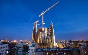 Картинка ночь, город, Барселона