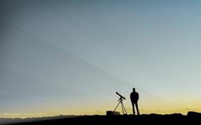 Обои минимализм, человек, небо, подзорная труба, наблюдение