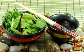 Картинка Japan, камешки, салат, пиала, палочки для еды