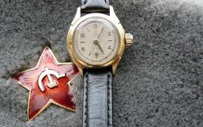 Картинка фон, праздник, widescreen, обои, звезда, часы, wallpaper, red, star, серп и молот, красная, 9 мая, …