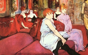 Картинка диван, интерьер, картина, салон, жанровая, Анри де Тулуз-Лотрек, The Salon in the Rue des Moulins