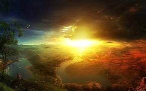 Картинка небо, вода, солнце, свет, горы, туча