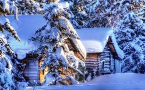Картинка лес, снег, пейзаж, домики