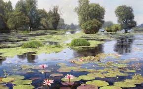 Картинка вода, деревья, пейзаж, цветы, озеро, пруд, отражение, картина, лотос, цветки, Zbigniew Kopania, ряска