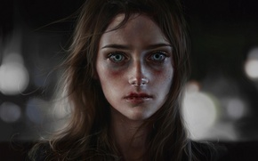 Картинка взгляд, девушка, лицо, кровь, волосы