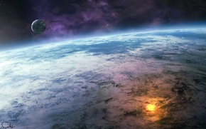 Картинка explosion, fire, moon, water, clouds, stars, planet, close up, oceans, Sci Fi, small planet