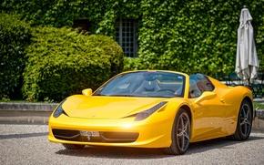 Обои ferrari, 458, spider, cabriolet, castle, supercar, yellow