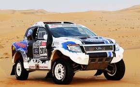 Картинка Ford, Песок, Авто, Спорт, Машина, Капот, Джип, Фары, Rally, Dakar, Внедорожник, Передок, 2014