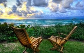 Обои море, стулья, восход, природа