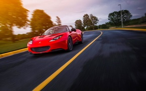 Картинка Car, Red, Evora S, Sun, Sport, Lotus, Road, Speed, Front