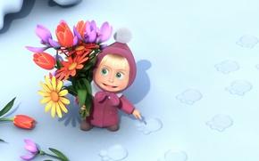 Картинка снег, цветы, следы, маша и медведь
