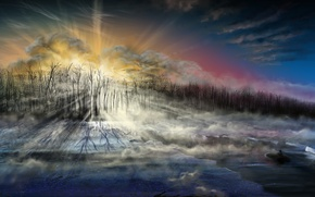 Картинка холод, лед, море, небо, лучи, деревья, пейзаж, лодка, человек, арт
