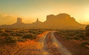 Картинка Sunset, Monument Valley, Track