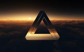 Картинка облака, закат, треугольник, пенроуз