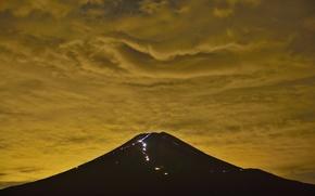 Обои япония, гора фудзияма, небо, облака