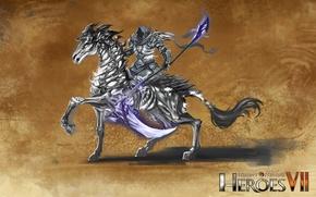 Картинка лошадь, некрополис, Heroes of Might and Magic 7, тёмный рыцать