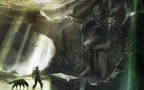 Обои The Elder Scrolls, воин, пещера, гробница, skyrim, скайрим