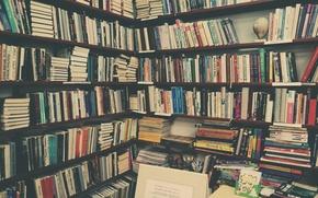 Картинка table, books, library
