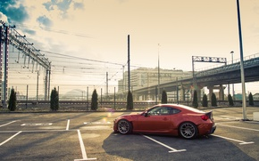 Картинка дорога, парковка, Toyota, диски, боком, GT86, Rocket, Bunny