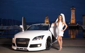 Картинка вода, девушка, Audi, Девушки, белый авто