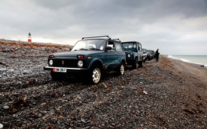 Обои Lada, нива, фон, Land rover, берег, обои, Niva, off road