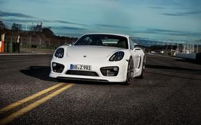 Картинка белый, Porsche, Cayman, порше, TechArt, кайман