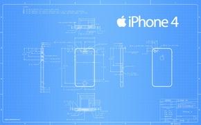 Обои чертеж, iphone, размеры