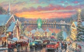 Картинка дорога, машины, огни, река, праздник, улица, часы, елки, дома, ель, вечер, Рождество, церковь, Новый год, …