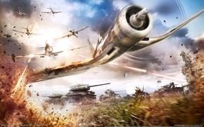 Картинка небо, огонь, дым, fire, сражение, самолёт, sky, smoke, танки, airplane, battle, game wallpapers, tanks, эскадрилья, ...