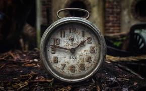 Обои old, часы, стрелки, пыль