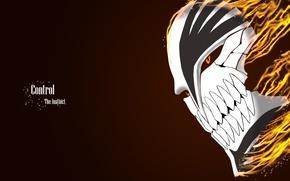 Картинка огонь, аниме, Bleach, Bleach Hollow mask, Control The Instinct, маска Ичиго