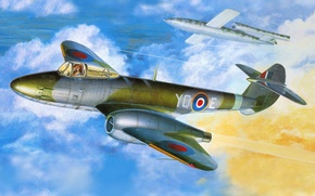 Картинка самолет, истребитель, арт, aircraft, реактивный, британский, первый, F-1, WW2., союзников, участие, принимавший, единственный, Gloster Meteor