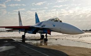 Картинка самолет, истребитель, Су-27, Русские витязи
