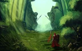 Картинка дорога, трава, оружие, фантастика, воин, арт, проход, зелено