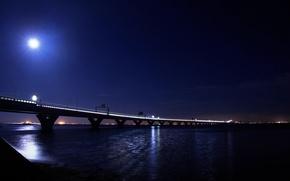город, мост, ночь, луна, свет, огни, water, river, bridge, moon, light обои