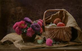 Картинка цветы, корзина, яблоки, ткань, фрукты, натюрморт, мешковина, астры