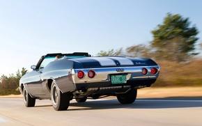 Картинка машина, скорость, Chevrolet, 454, Chevelle, Convertible, 1972, Malibu, масл кар, зажок