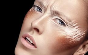 Картинка макияж, eyes, beauty, leather, portrait, Ksusha Novikova, Retouch
