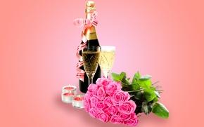Картинка розы, бокалы, glass, шампанское, flowers, romantic, Valentine's Day, roses, champagne